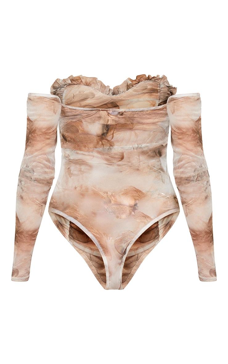 Nude Smoke Printed Mesh Ruched Bardot Bodysuit 6