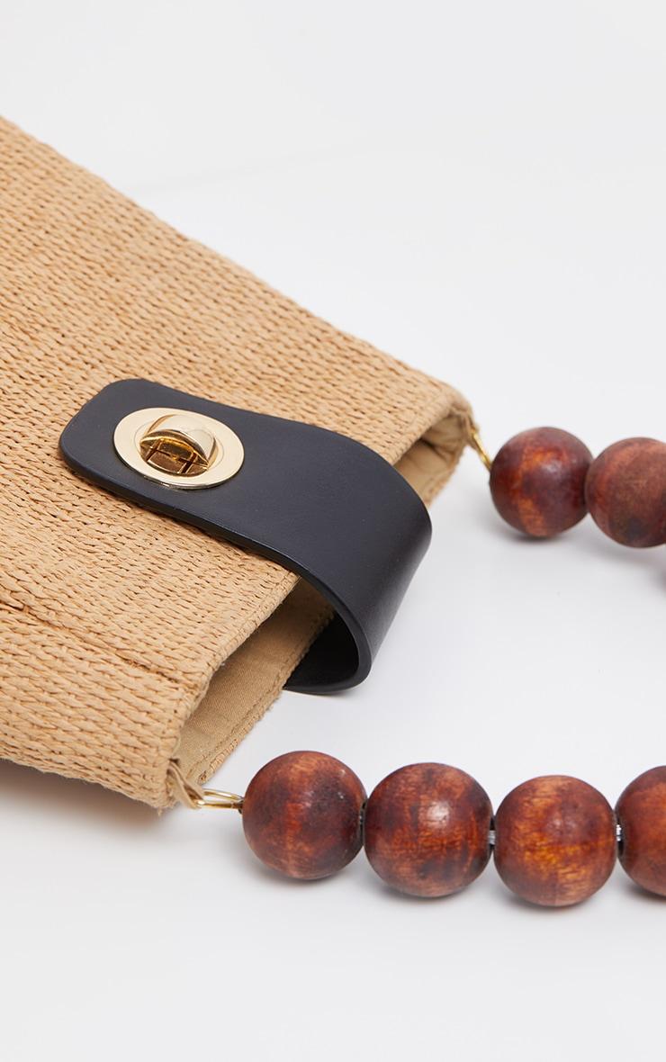 Natural Straw And Wooded Beaded Grab Bag 3