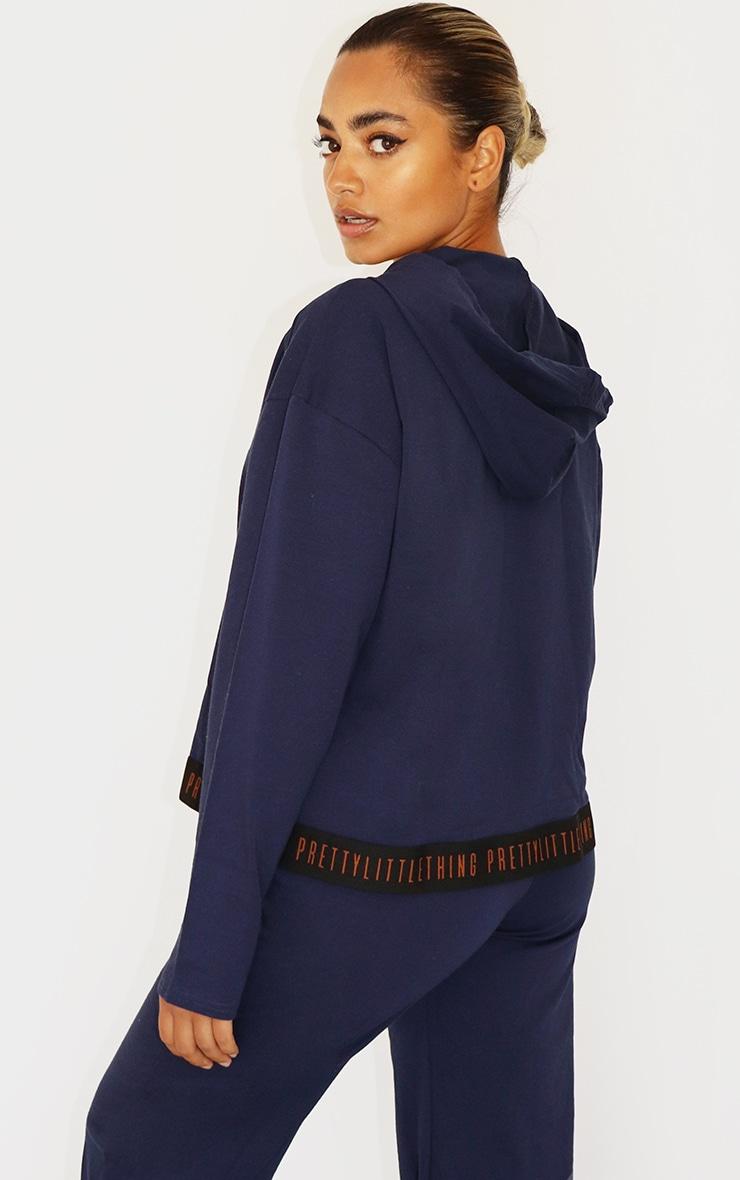 PRETTYLITTLETHING Petite Navy Cotton Zip Up Hoodie 2