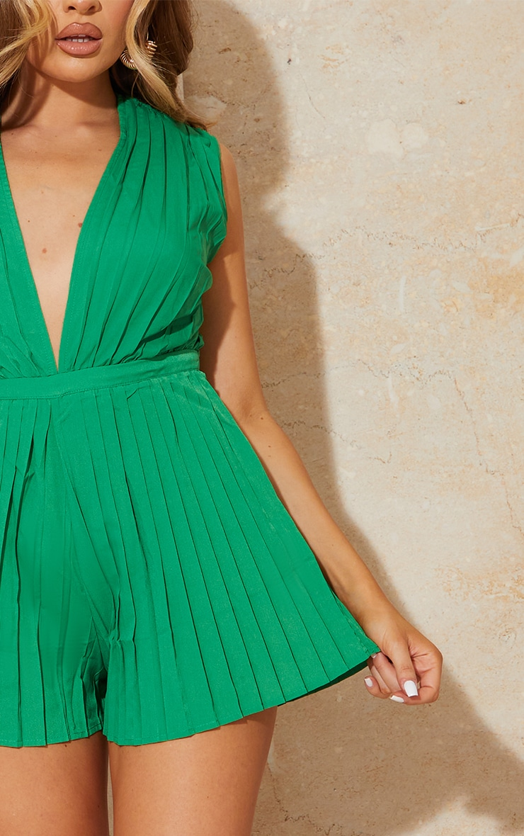 Bright Green Pleated Shoulder Pad Plunge Romper 4