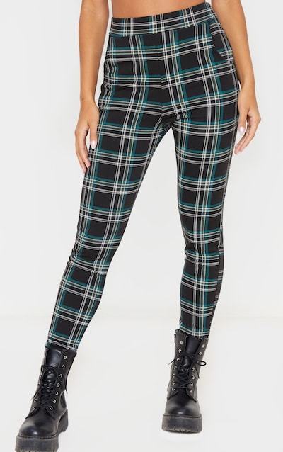 Black Checked Skinny Trousers