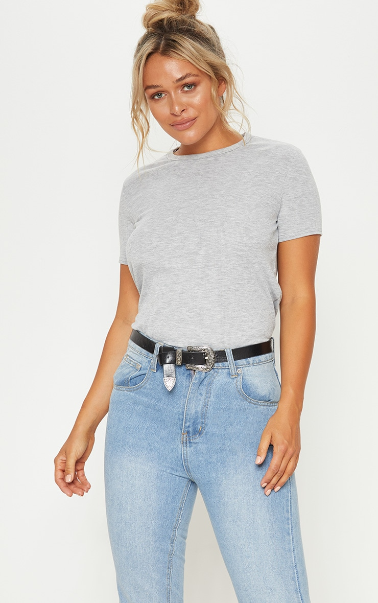 Grey Marl Rib Round Neck T Shirt
