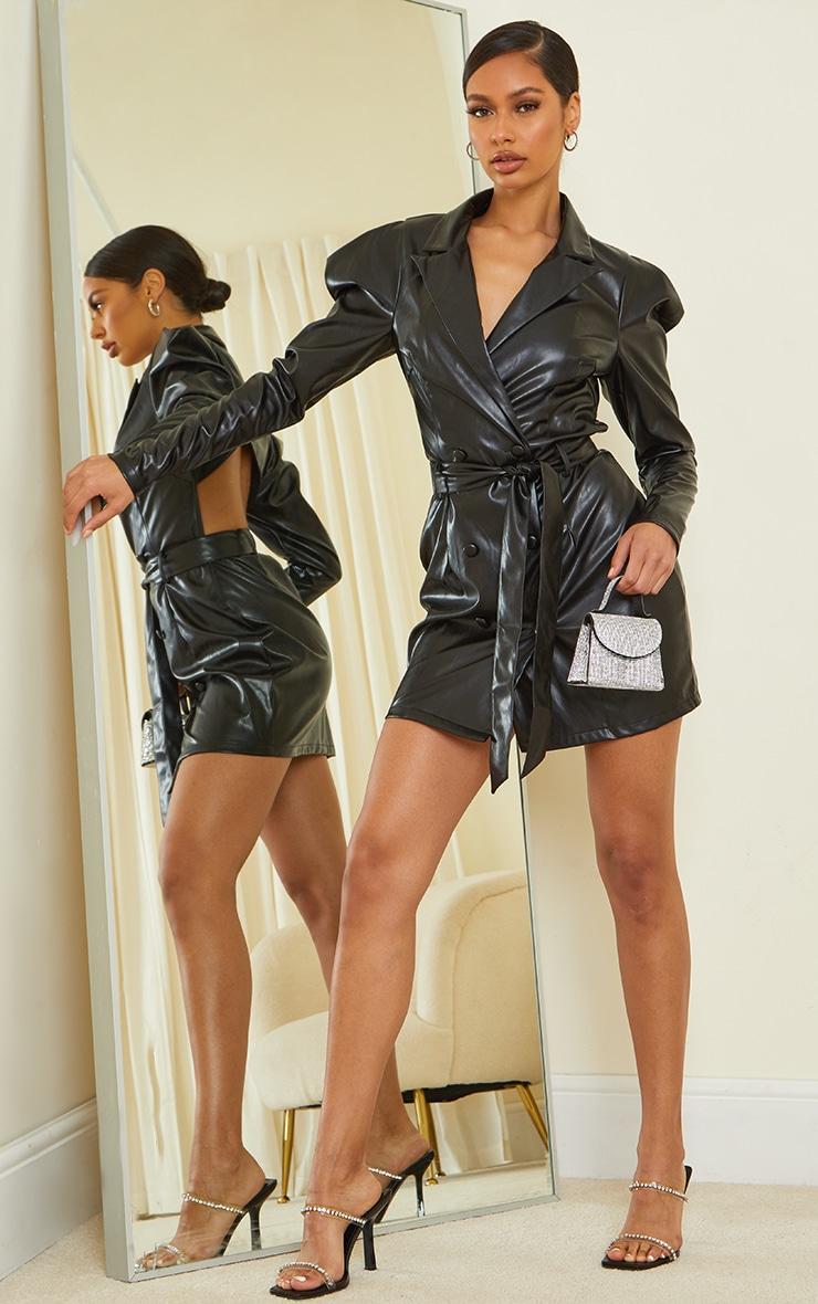 Black PU Tie Waist Cut Out Back Blazer Dress 1