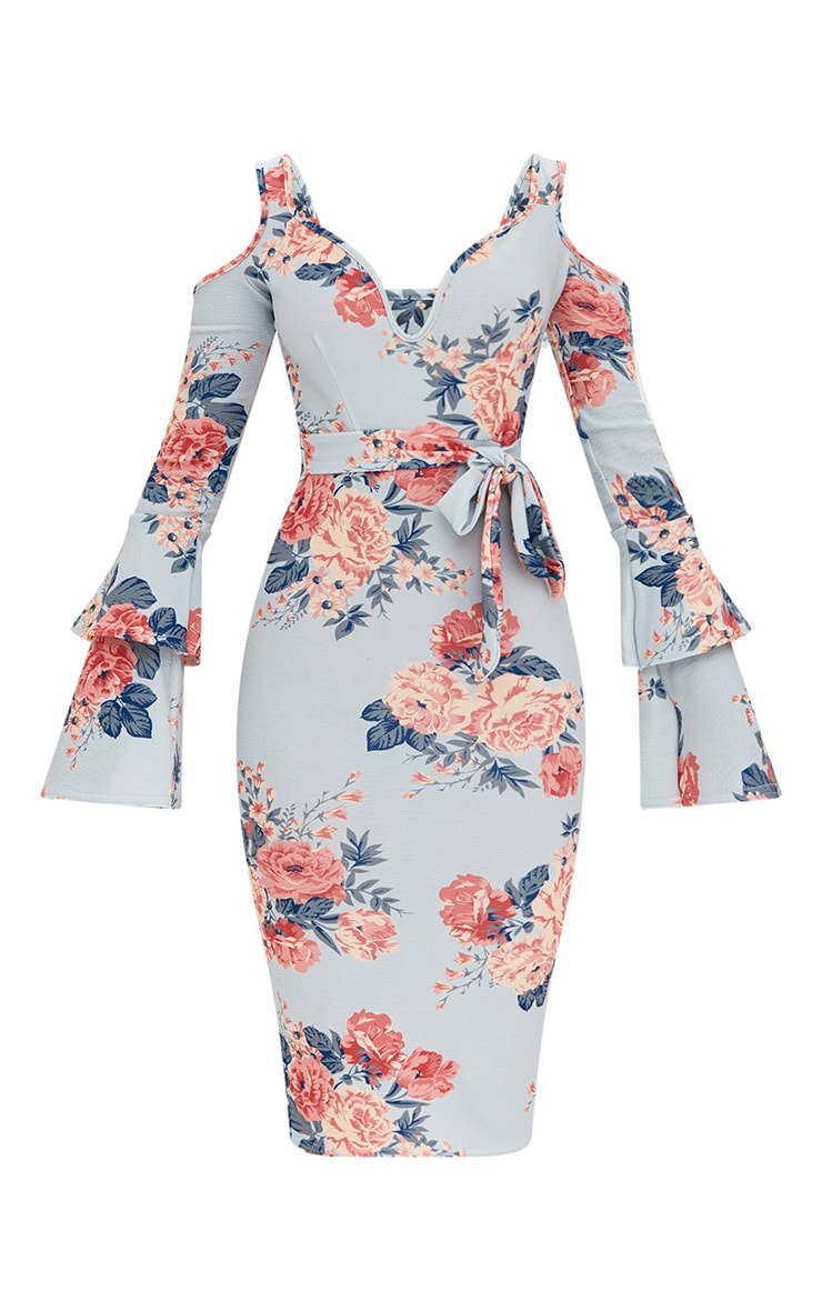 Ice Grey Floral Cold Shoulder Frill Sleeve Midi Dress 3