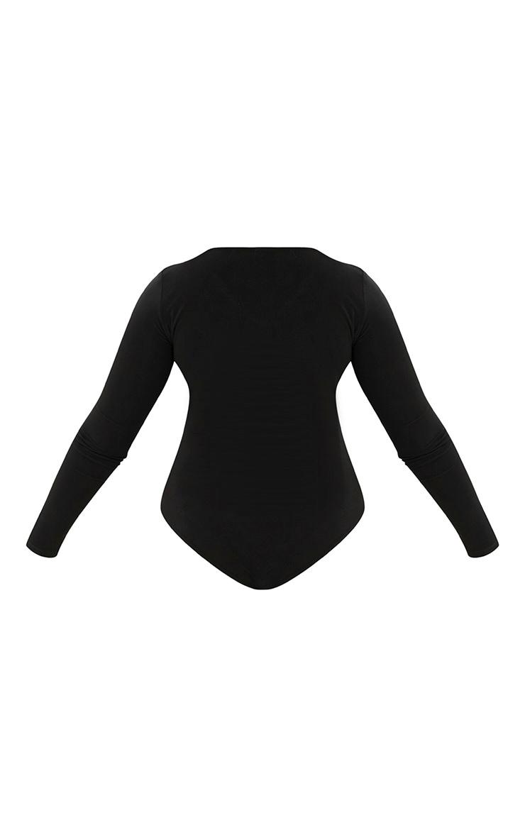 Plus Black Slinky Long Sleeve Bodysuit 4