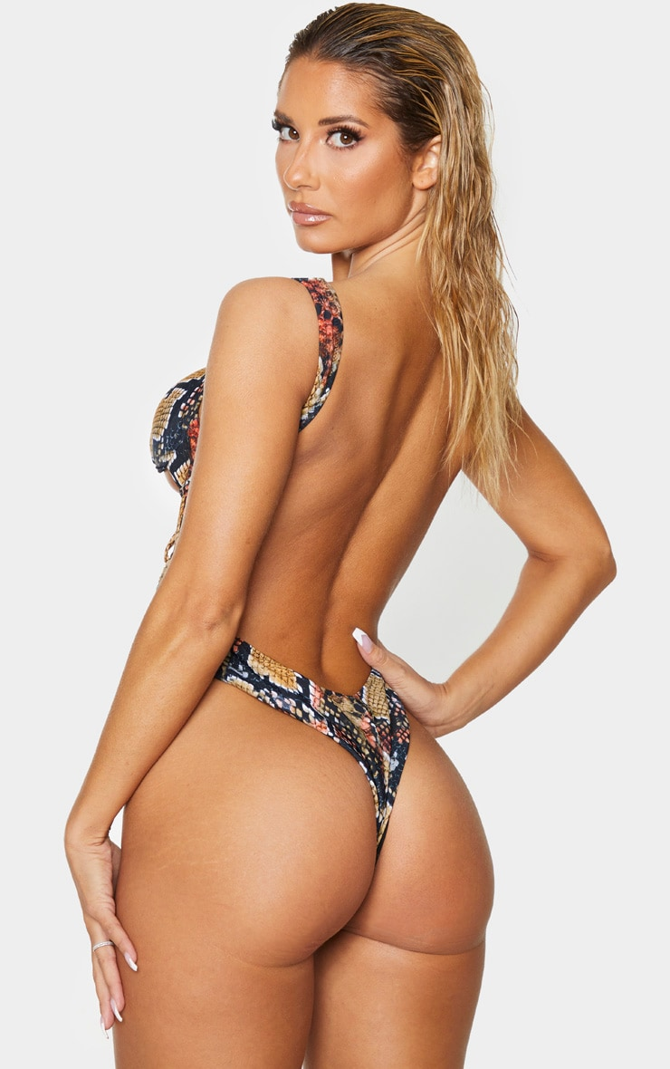 Brown Snake Underwired Cupped Cut Out Swimsuit 3