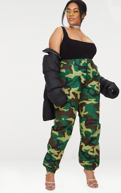 Plus Khaki Camo Print Cargo Trousers