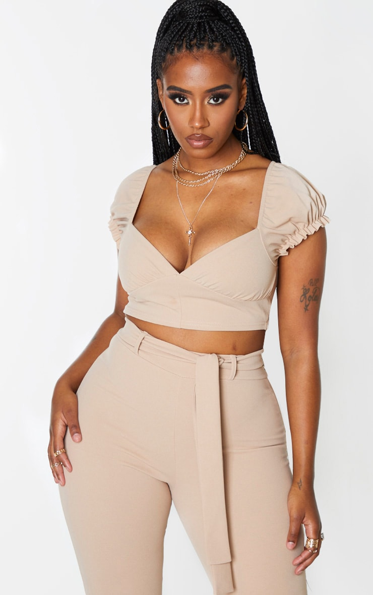 Shape Stone Plunge Puff Sleeve Crop Top 2