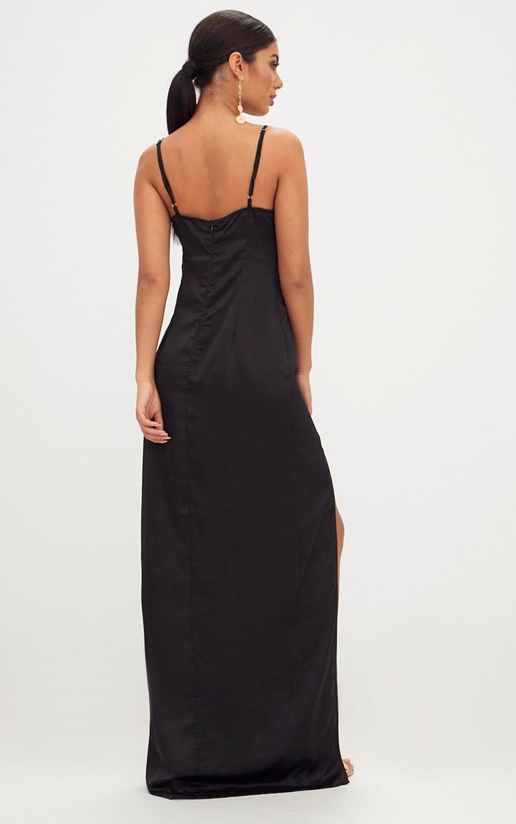 Black Satin Strappy Side Split Maxi Dress 2