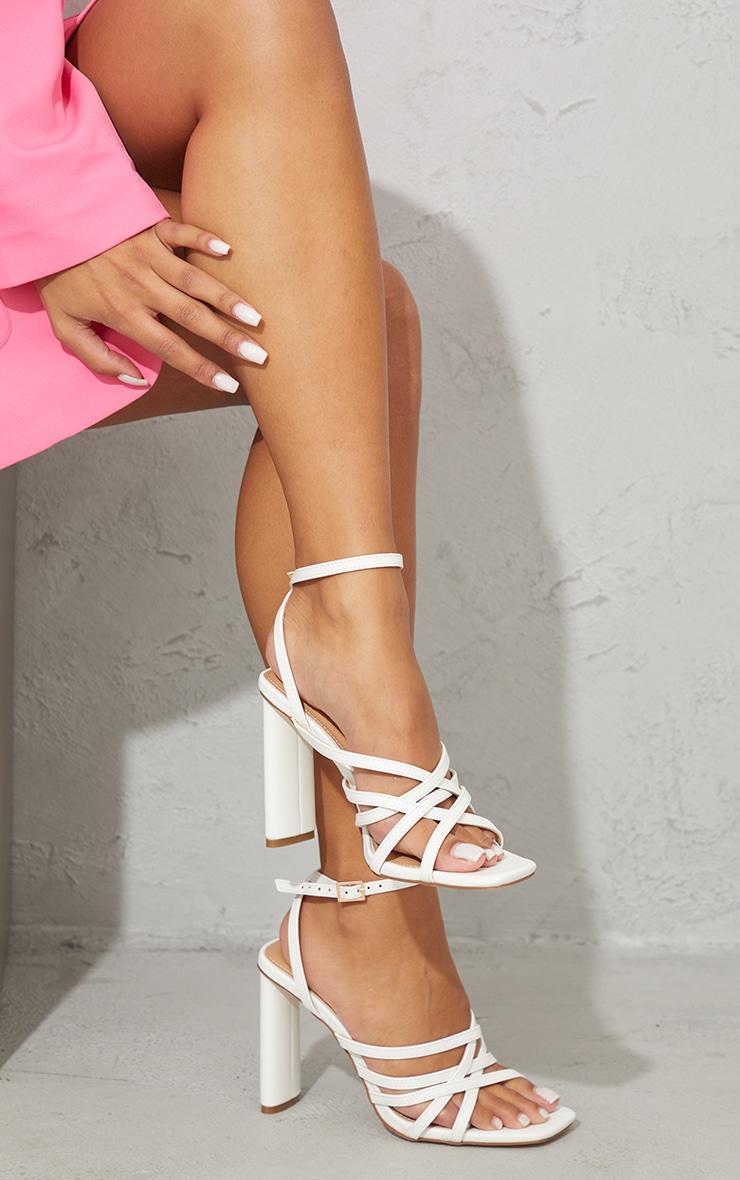 White PU High Flat Heel Square Toe Multi Strap Sandals 2