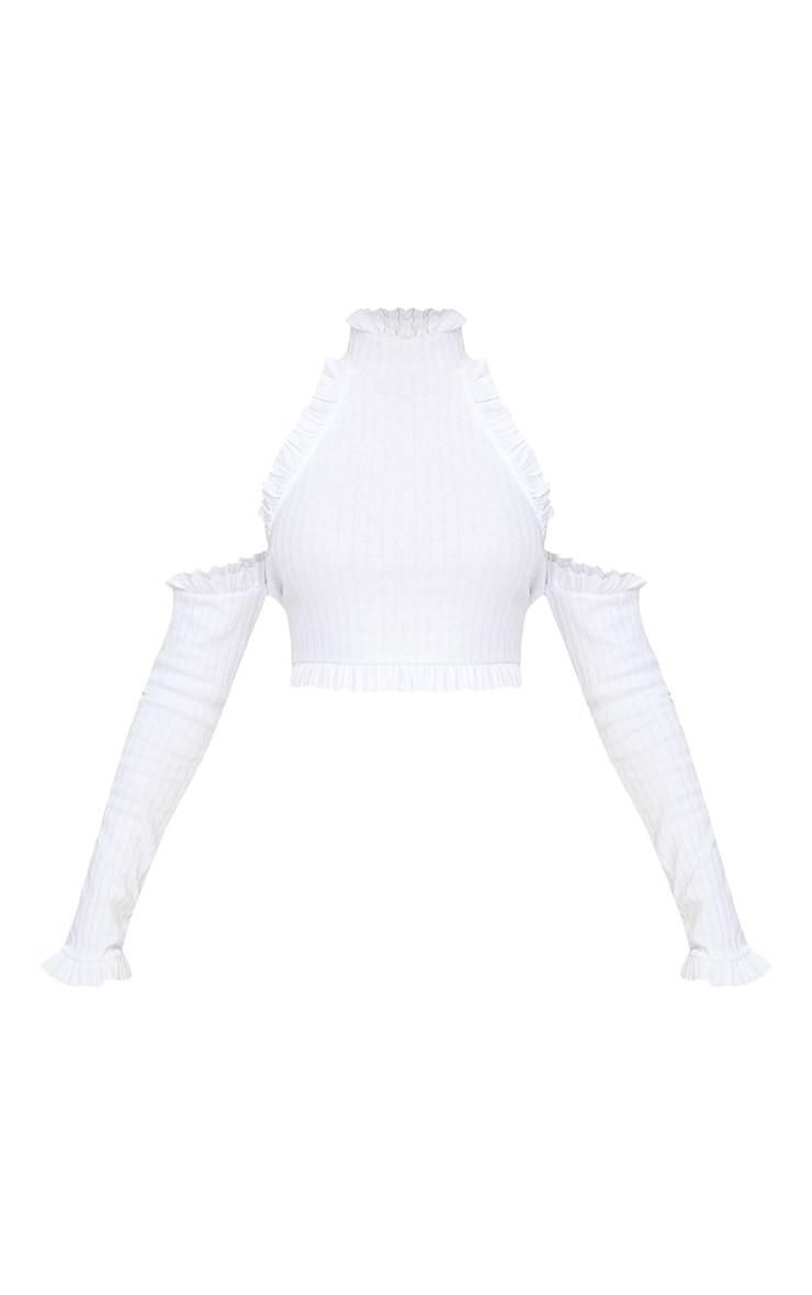 White Ribbed High Neck Frill Cold Shoulder Crop Top 3