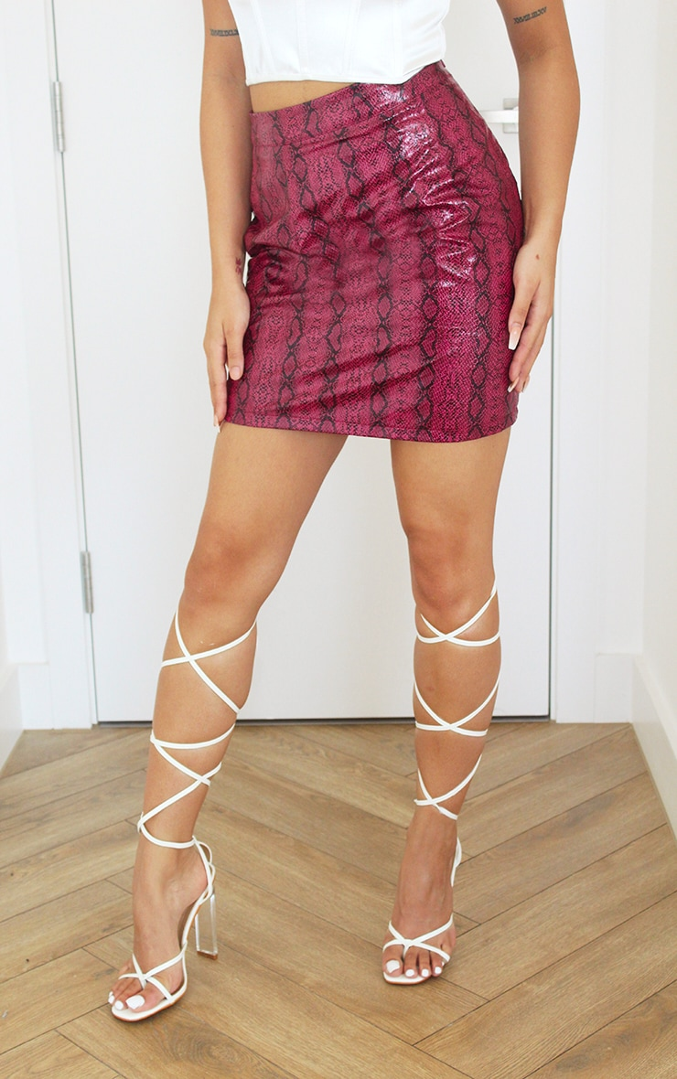 Hot Pink Snake Print Faux Leather Mini Skirt 2