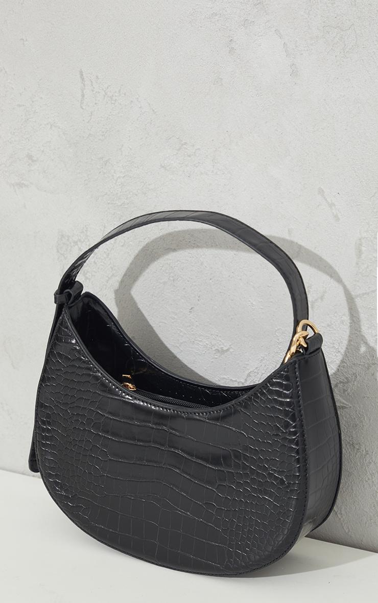 Black Croc Crescent Mixed Chain Strap Shoulder Bag 4