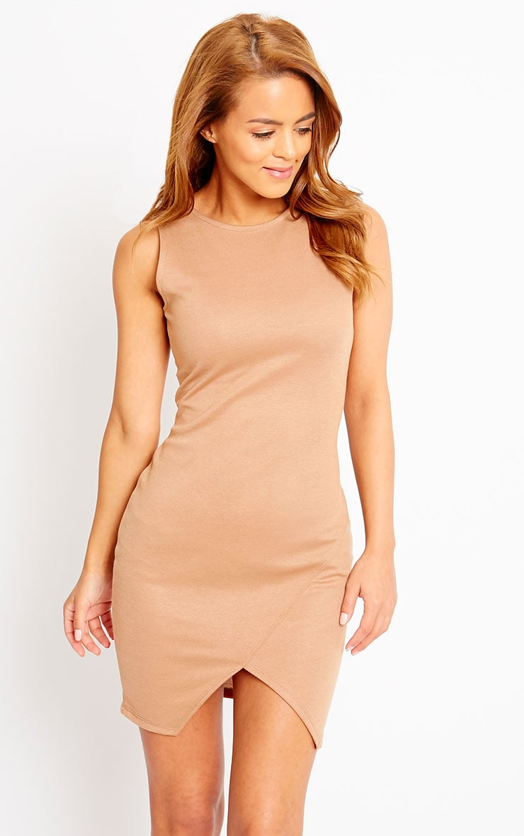 Ahana Camel V-Front Hem Mini Dress 4