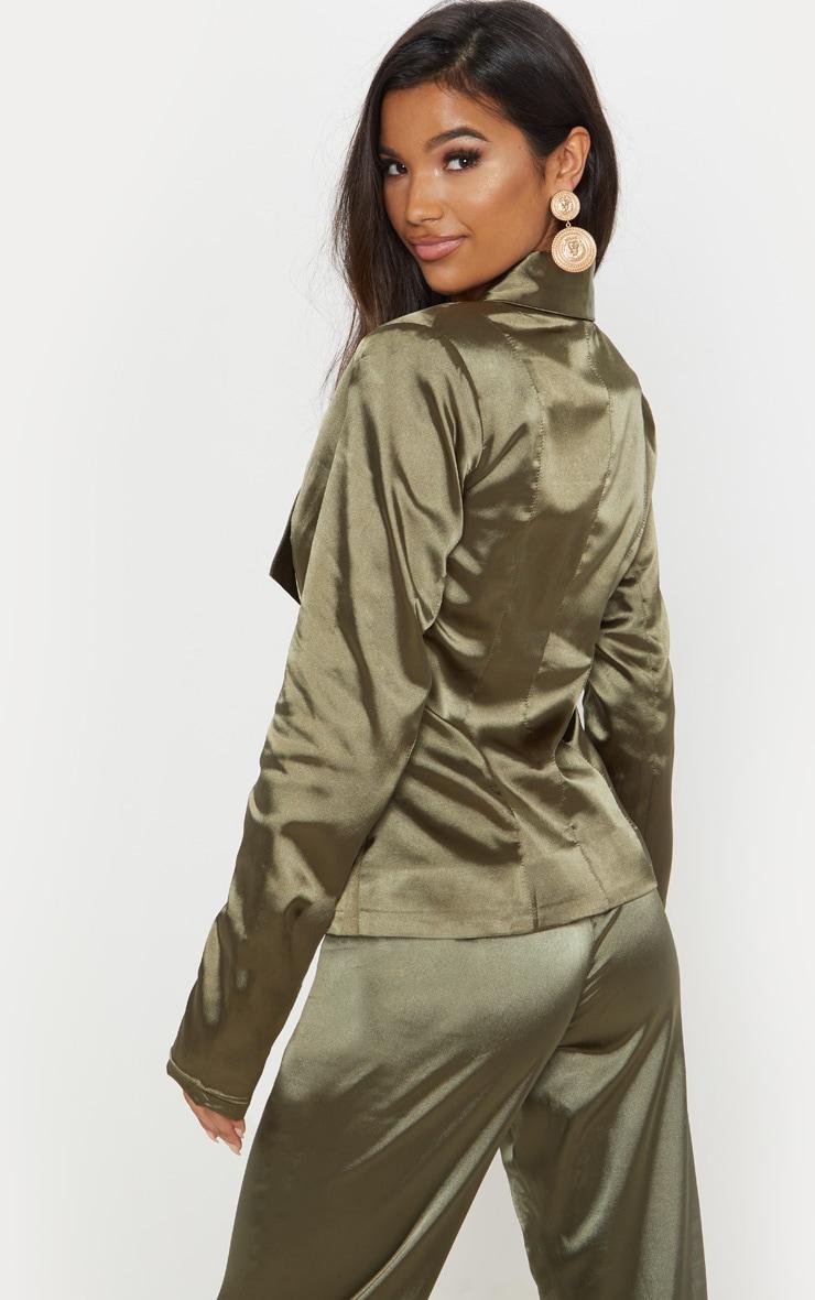 Khaki Satin Longline Blazer 2