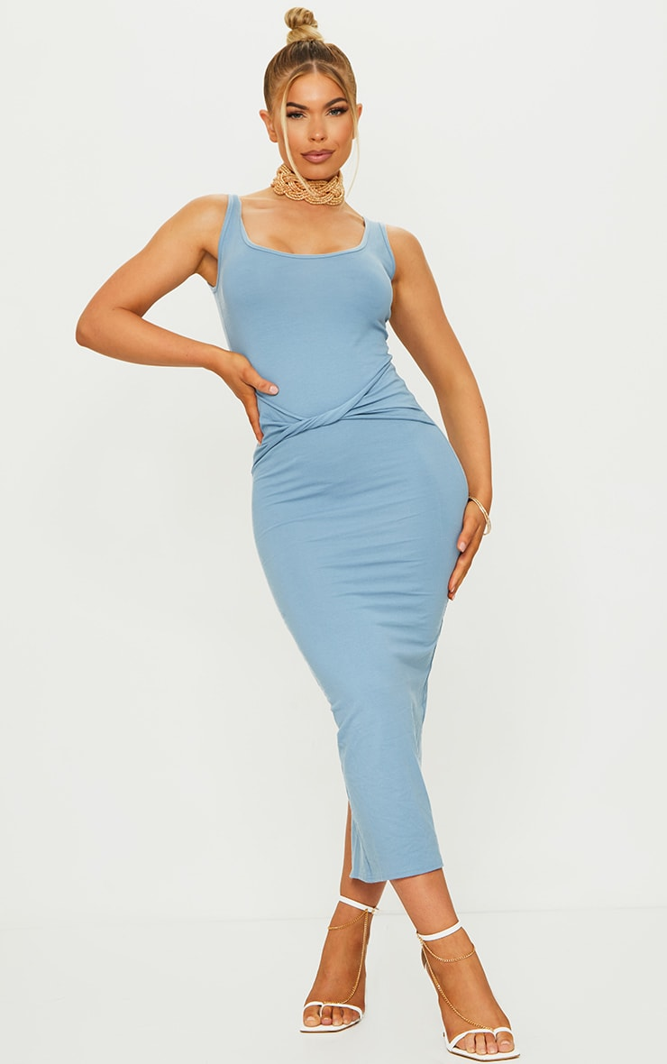 Blue Cotton Sleeveless Twist Waist Midi Dress 1