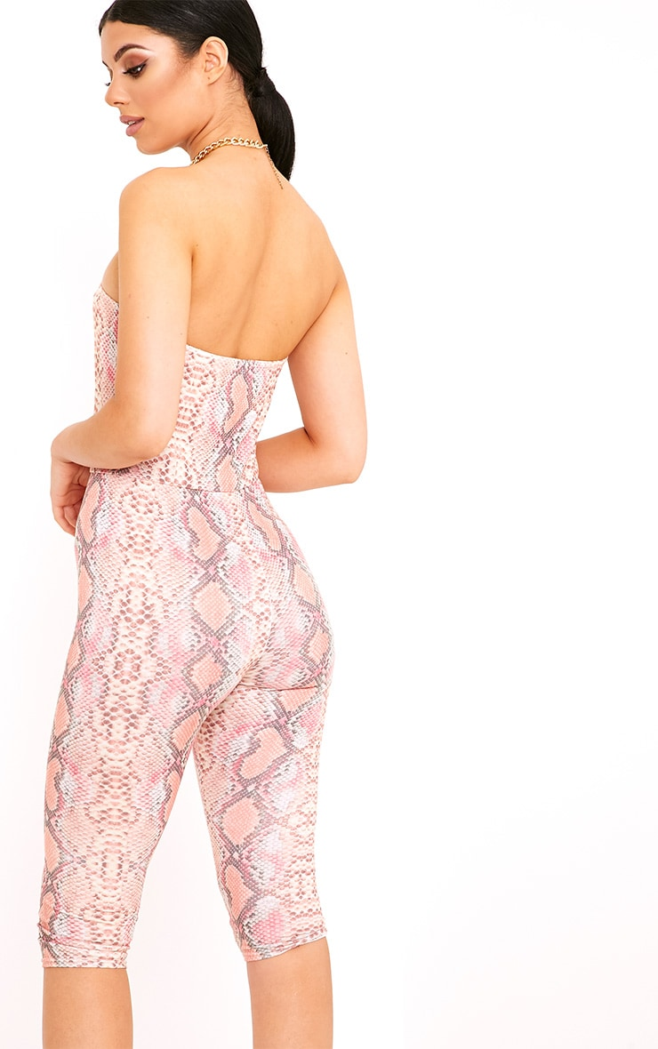 Kelli Orange Snake Print Bandeau Cropped Jumpsuit 2