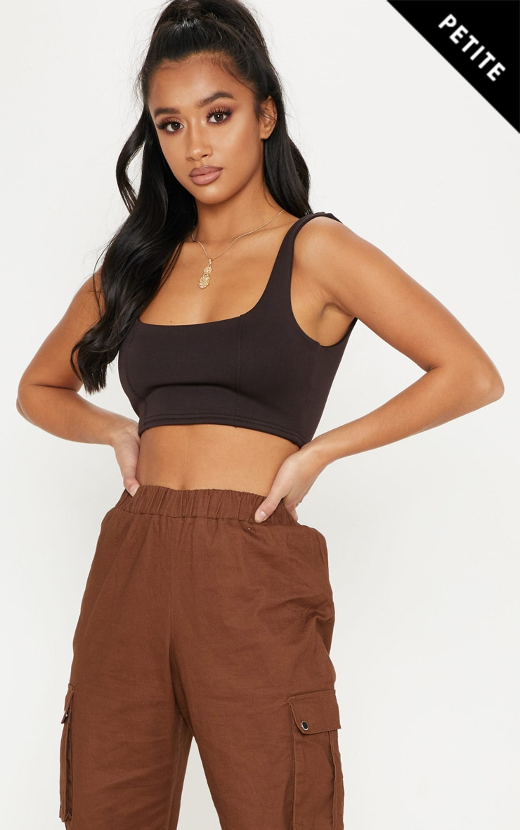 Petite Chocolate Brown Square Neck Zip Crop Top by Prettylittlething