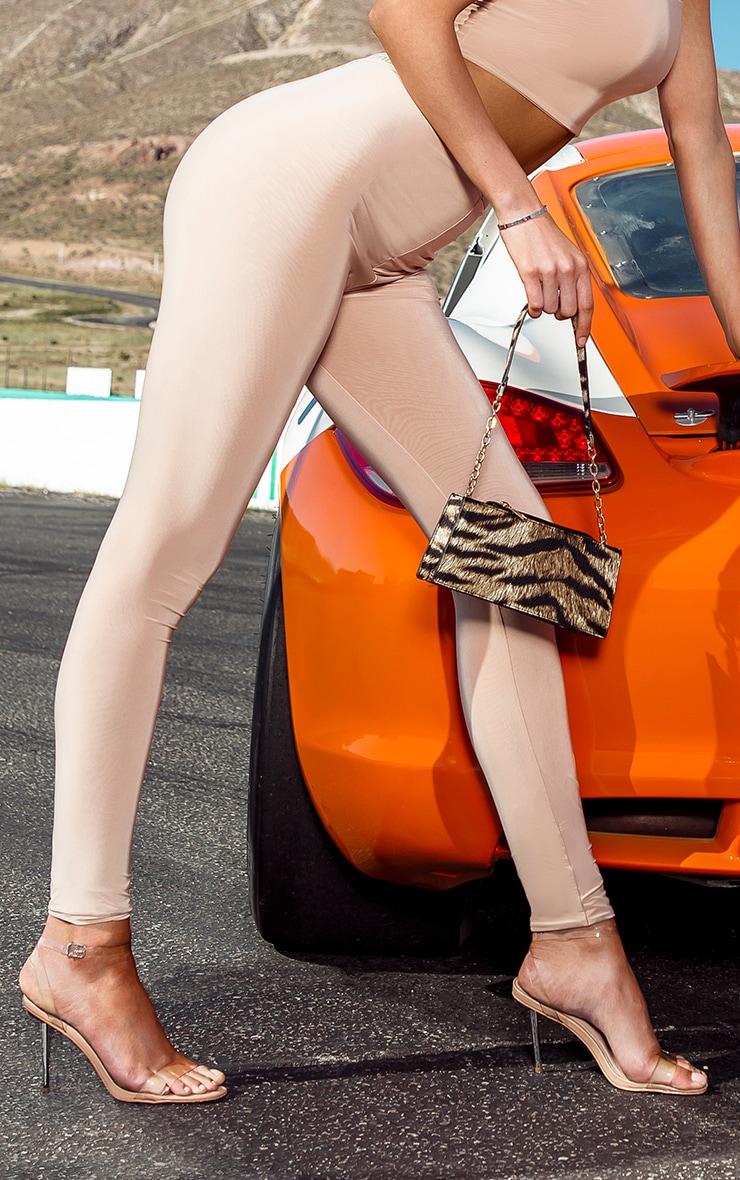 PRETTYLITTLETHING Tall Nude High Waisted Slinky Leggings 2