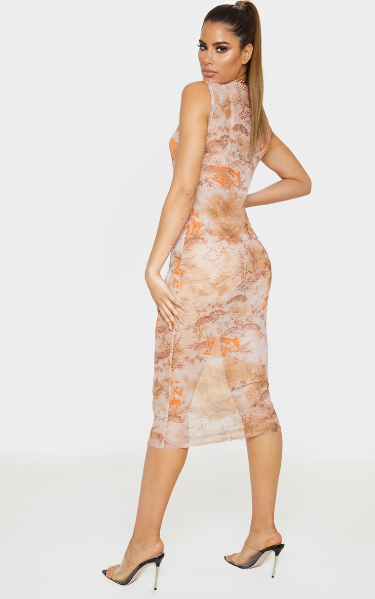 Tall Nude Oriental Mesh Midi Dress 2
