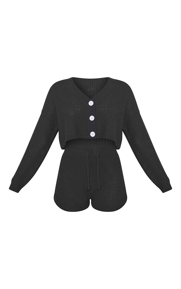 Black  Button Up Ribbed Knitted Short Lounge Set 5