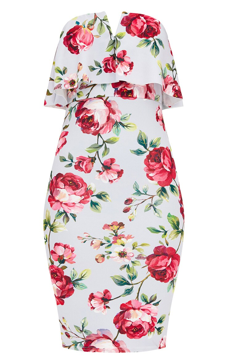 Grey Rose Floral Bandeau Midi Dress 3