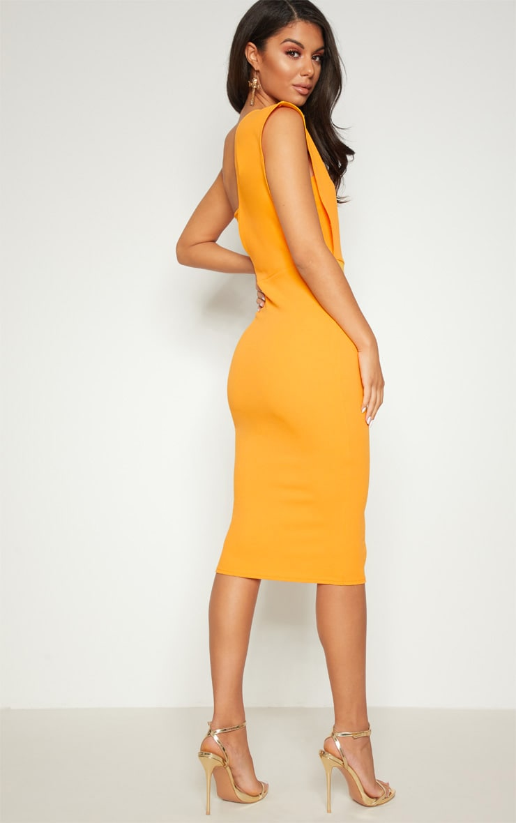 Yellow One Shoulder Draped Midi Dress 2
