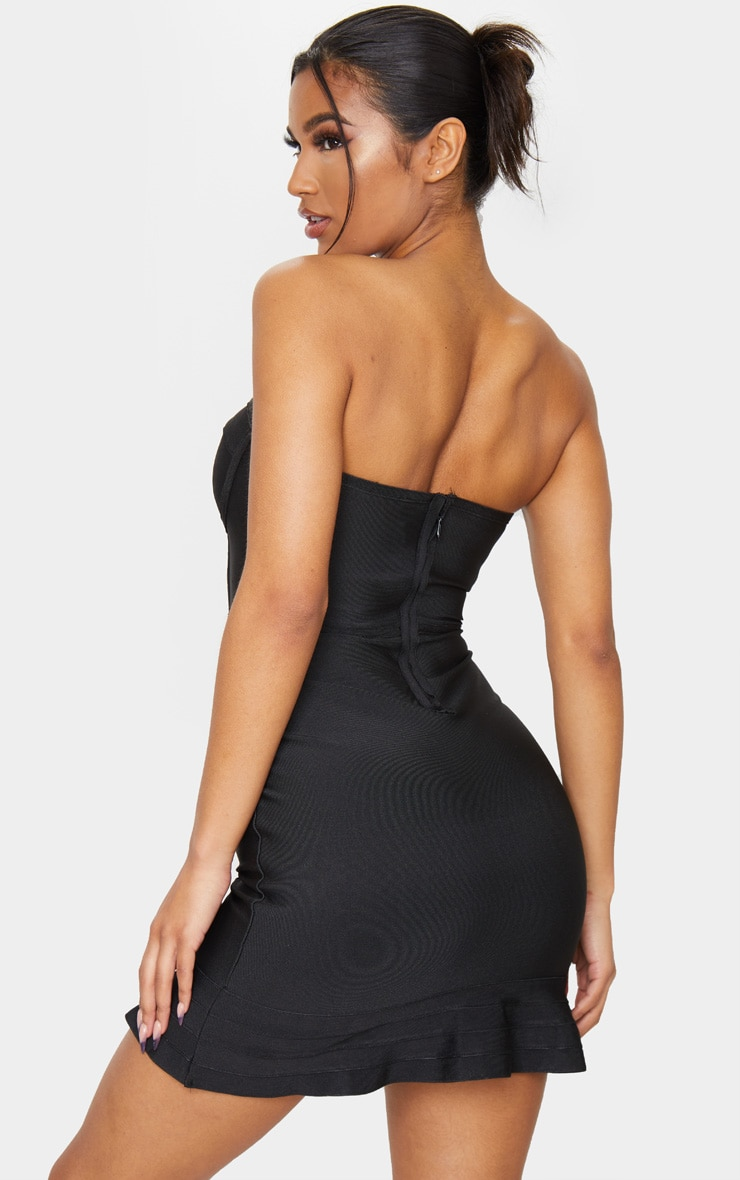 Black Bandage Frill Hem Bodycon Dress 2