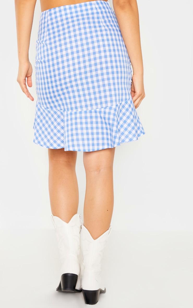 Light Blue Check Mini Skirt 4