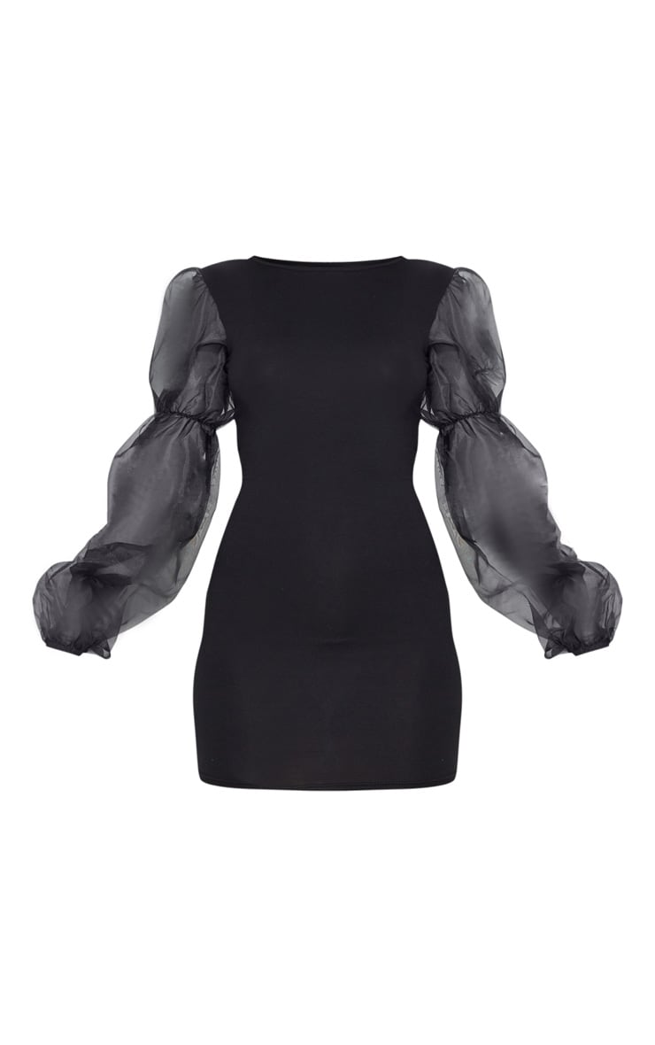 Black Organza Long Puff Sleeve Jersey Bodycon Dress 3