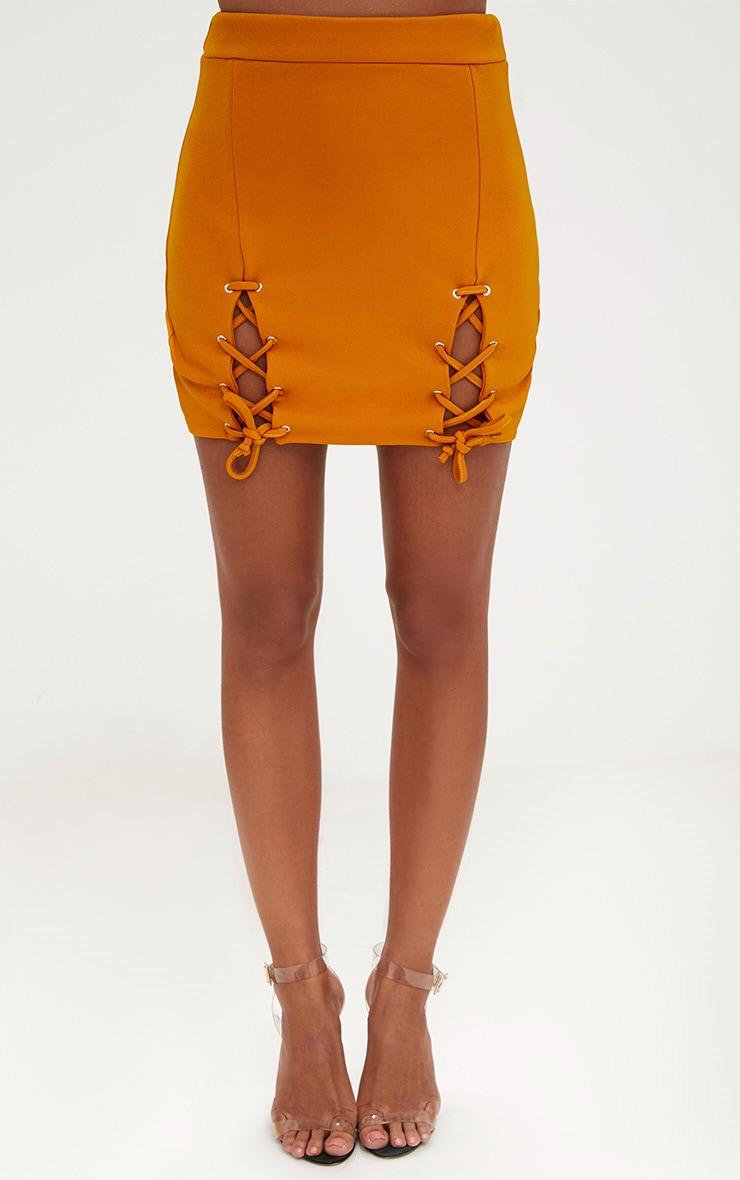 Mustard Double Split Lace Up Mini Skirt 2