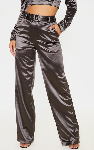 Petite Grey Belt Detail Satin Flared Trousers