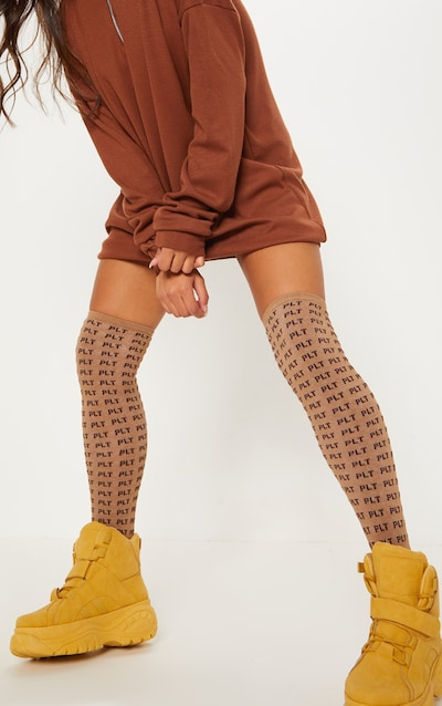 afe9791cb2f PRETTYLITTLETHING Logo Brown Knee Length Socks