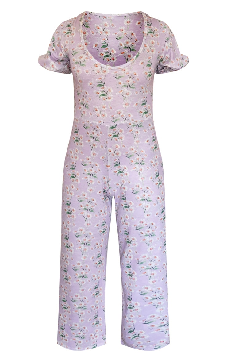 Lilac Daisy Print Short Puff Sleeve Culotte Jumpsuit 5