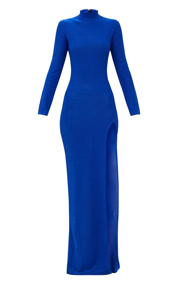 Cobalt Blue High Neck Glitter Side Split Maxi Dress 3
