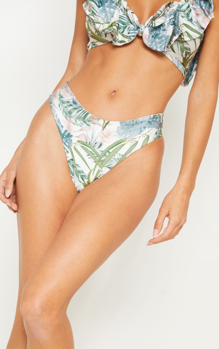 Pale Khaki Leafy Cheeky Bum Bikini Bottom 6