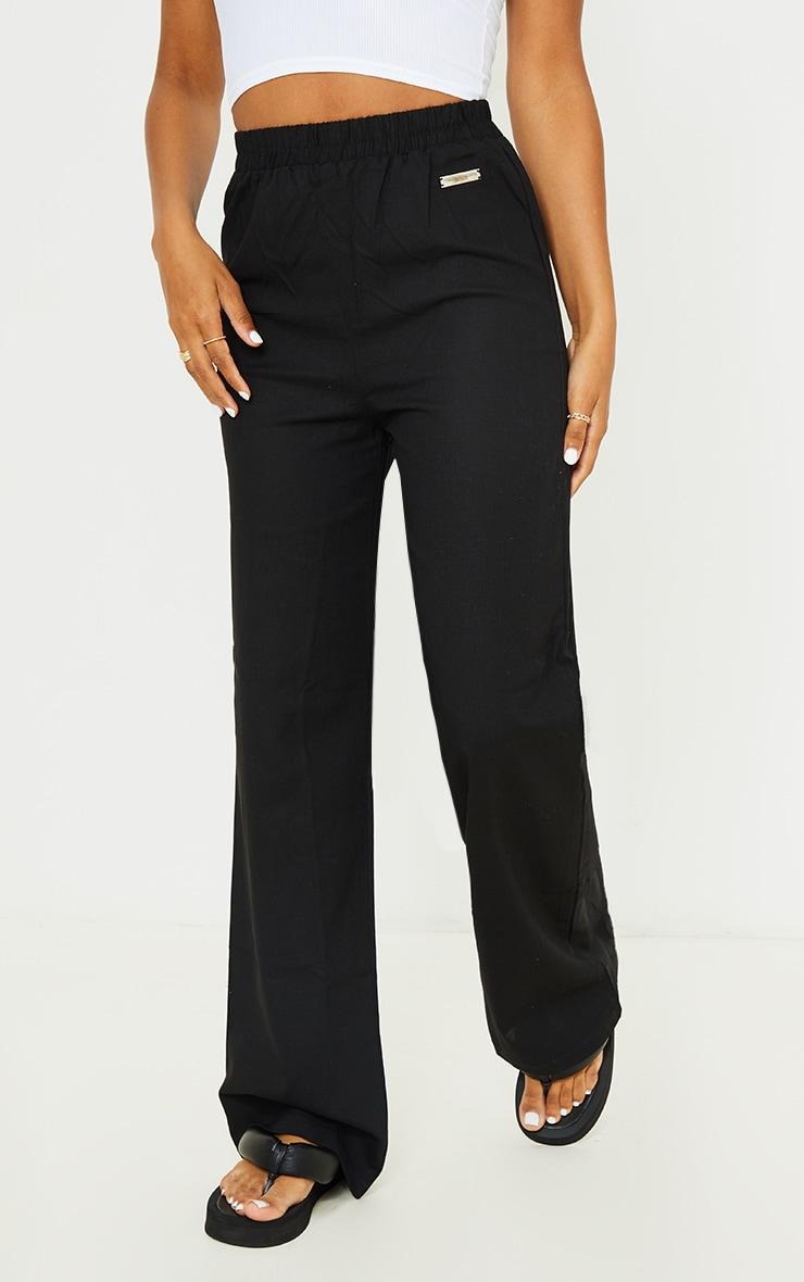 PRETTYLITTLETHING Black Wide Leg Trousers 3