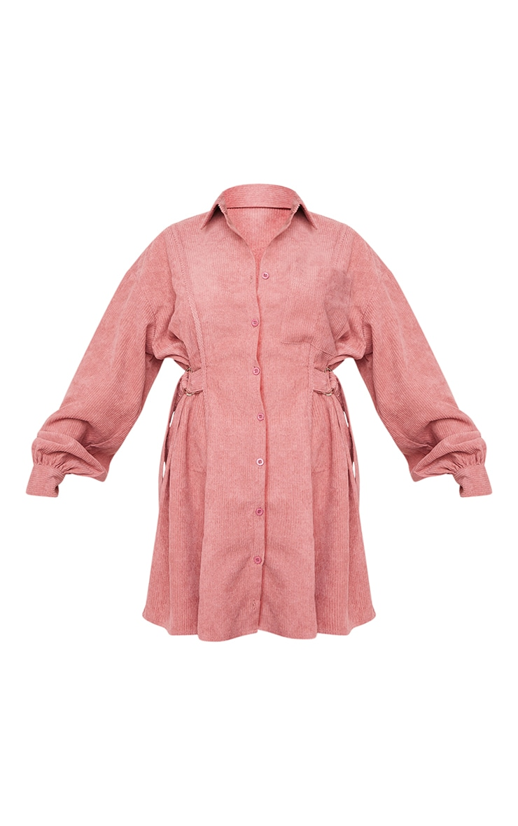Washed Red Cord Waist Buckle Detail Shirt Dress 5