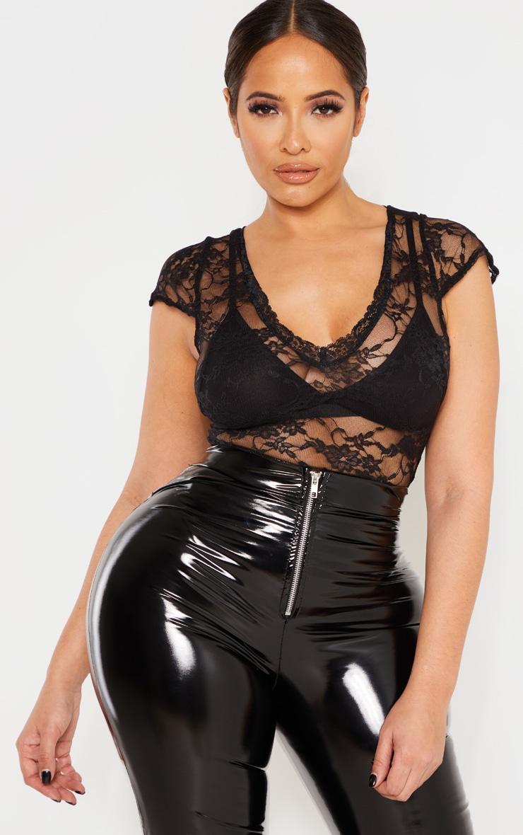Shape Black Lace V Neck Bodysuit  2