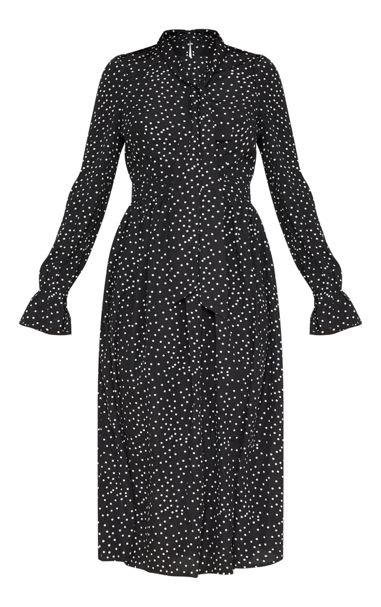 Black Polka Dot Tie Neck Floaty Midi Dress 3