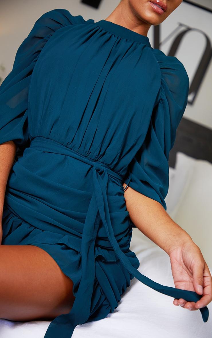Emerald Green Chiffon Ruched Sleeves Frill Hem Bodycon Dress 4
