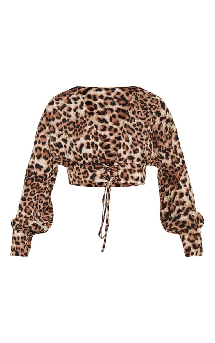 Brown Leopard Corset Crop Blouse 3