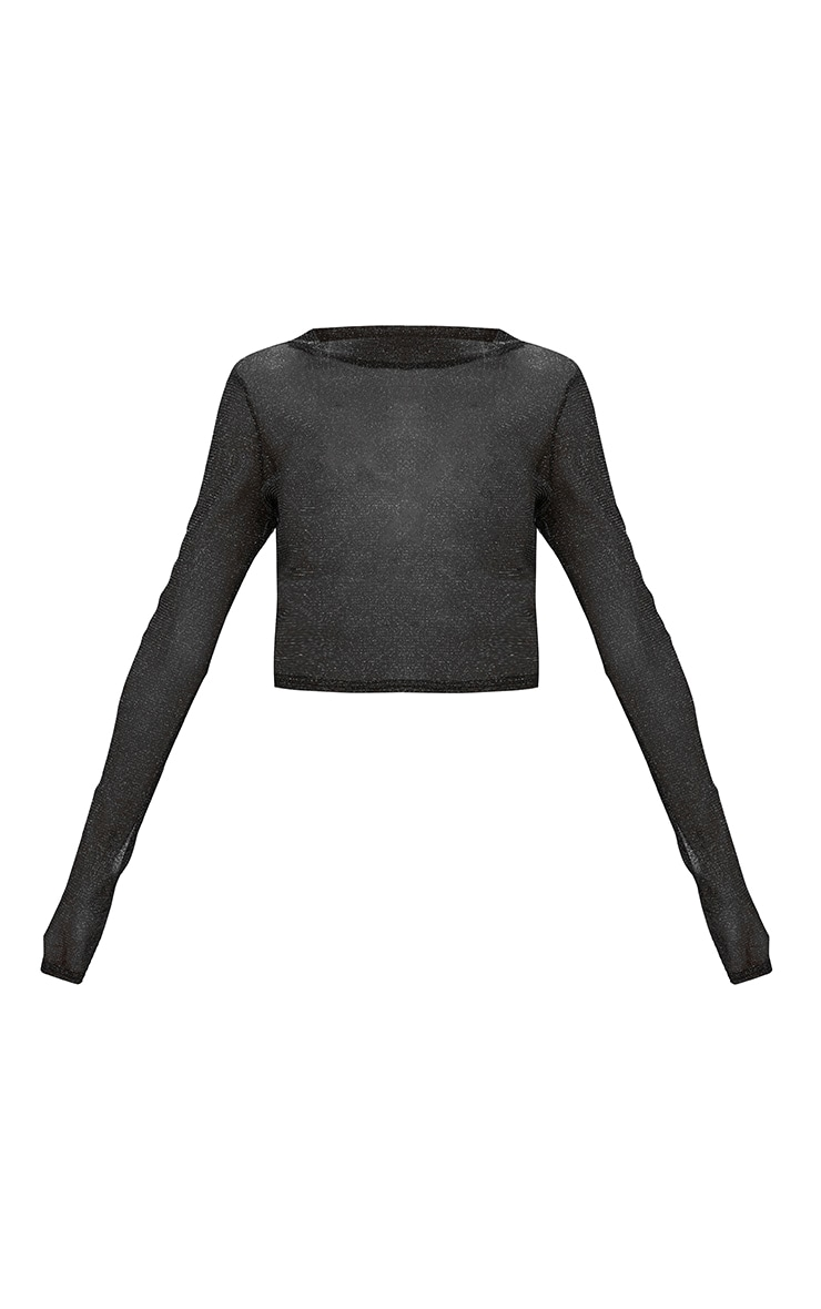 Black Sparkle Lurex Mesh Longsleeve Crop Top 3