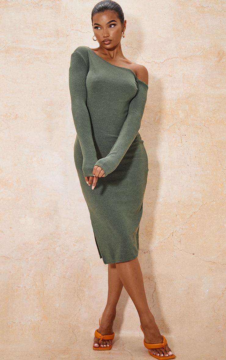 Khaki One Shoulder Split Side Rib Midaxi Dress 1