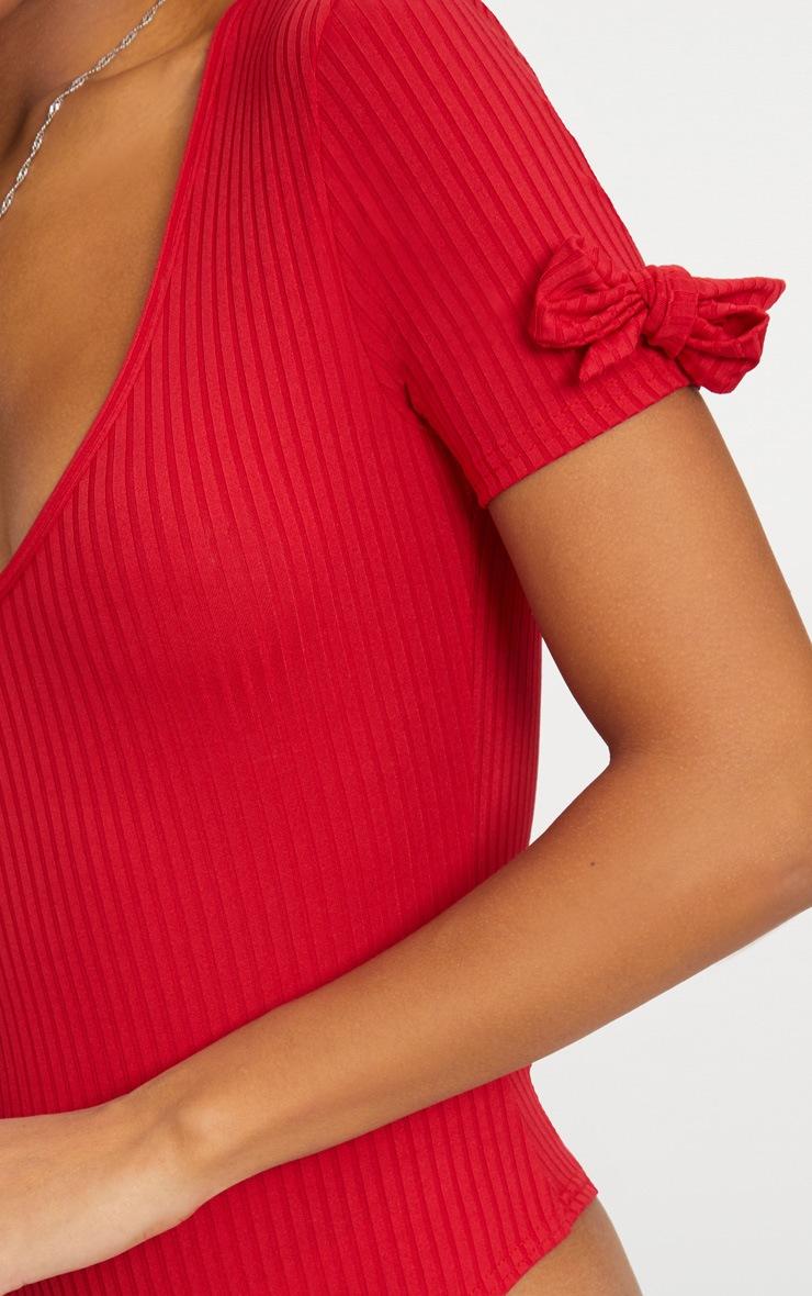 Red Rib V Neck Bow Sleeve Thong Bodysuit  6