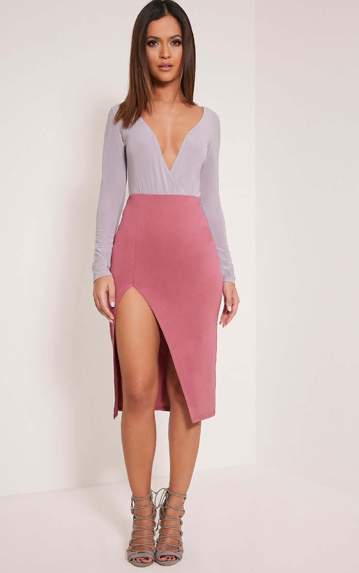 Harla Rose Jersey Split Midi Skirt 1