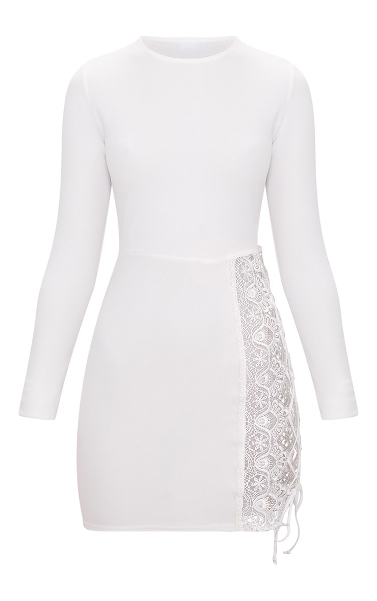 White Lace Up Side Long Sleeve Bodycon Dress 3