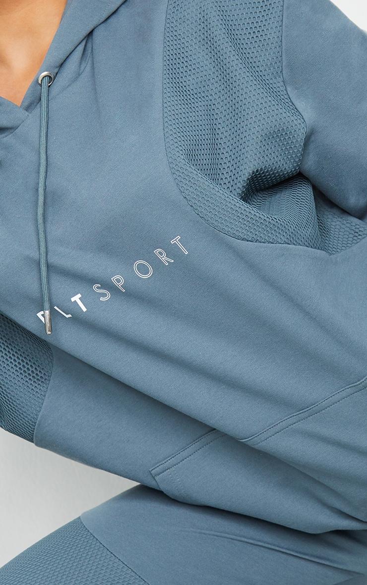 PRETTYLITTLETHING Steel Blue Oversized Mesh Texture Insert Sports Sweater 4