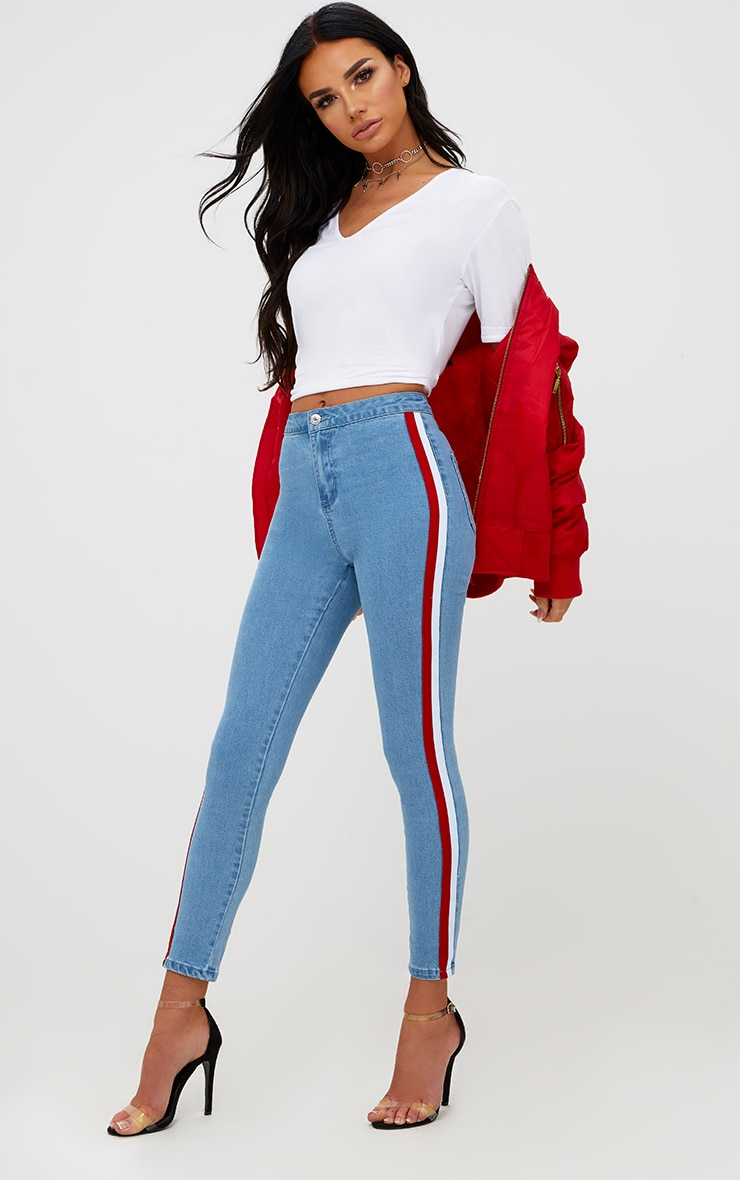 Mid Wash Sports Stripe High Waisted Skinny Jean 1