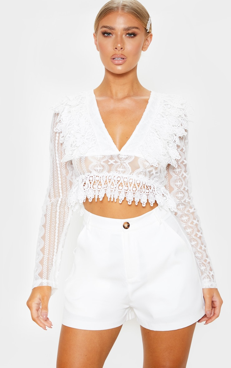714573ffea11fc White Lace Frill Plunge Blouse | Tops | PrettyLittleThing